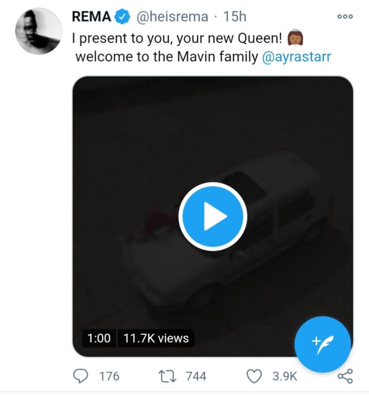 Rema's tweet on Ayra Starr