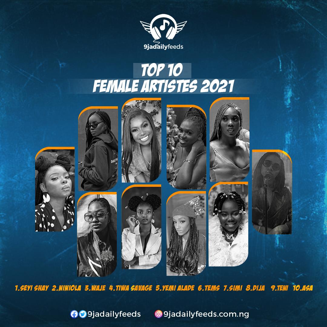 Top 10 Female Artiste In Nigeria