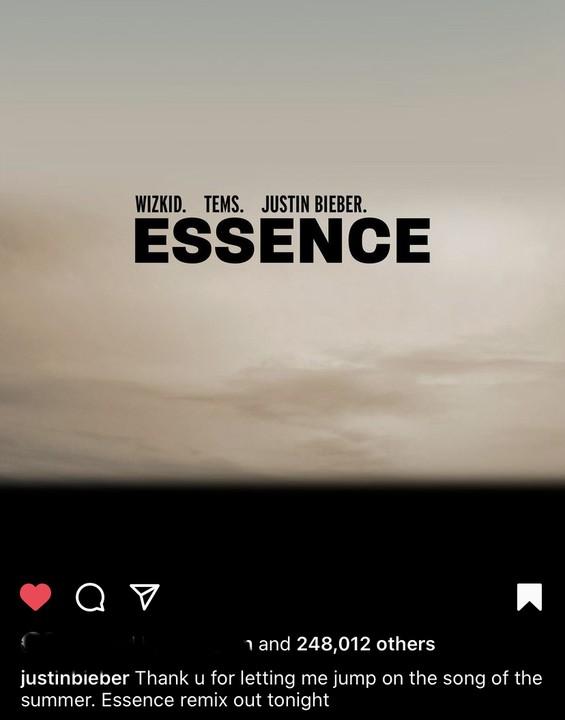 Justin Bieber Thanks Wizkid For Putting Him On Essence Remix(Photos)